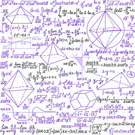 Mathematical vector seamless pattern with plots, figures and formulas, handwritten on the copybook paper, different colors Illustration