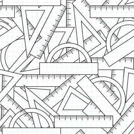 school kit: Graphic vector seamless pattern with school kit accessories: triangles, angle protractors and rulers