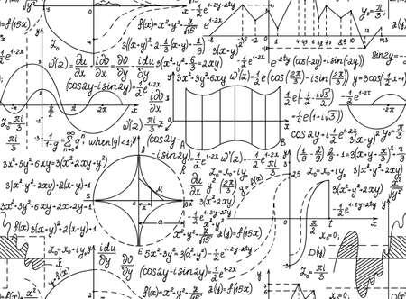 Matemática vector sin patrón con figuras geométricas, las ecuaciones y fórmulas. Usted puede usar cualquier color de fondo