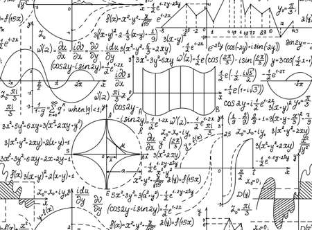 mathematical proof: Mathematical vector seamless pattern with geometrical figures, equations and formulas. You can use any color of background Illustration