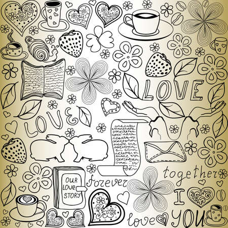history background: Beautiful vector seamless pattern with the words of love, kissing rabbits and hearts, \handwritten on the old paper\