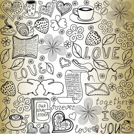 """oude krant: Prachtige vector naadloze patroon met de woorden van liefde, zoenen konijnen en harten,  """"handgeschreven op het oud papier """""""
