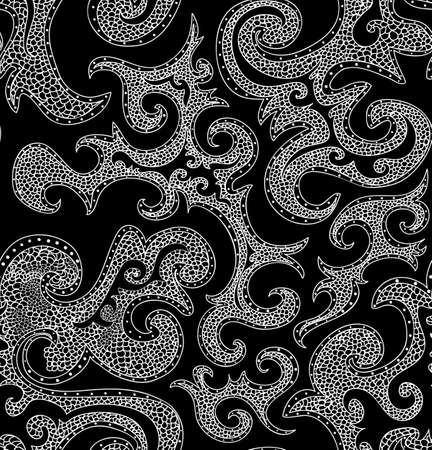 romance bed: Abstract black and white vector seamless pattern with figured shapes