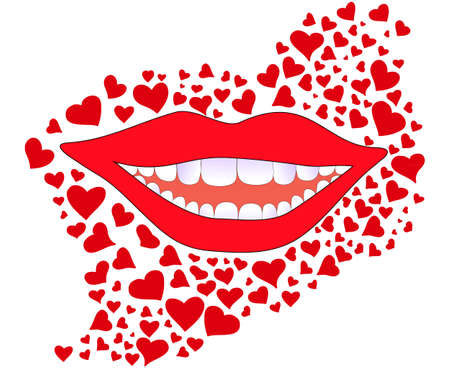 snowwhite: Vector background with smiling female lips and snowwhite teeth