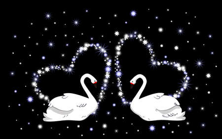 two story: Wedding vector background with hearts and white swans