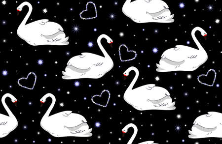 Beautiful vector wedding seamless pattern with white swans and hearts Vector