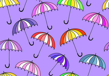 Beautiful vector seamless with colorful umbrellas Vector