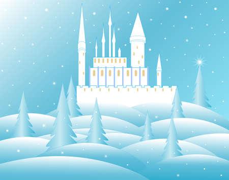 Vector castle of snow queen in frozen forest