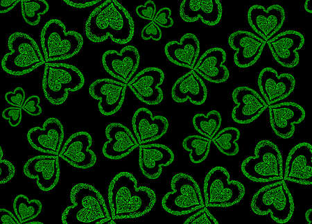 Vector seamless pattern with green figured clover leaves for St. Patricks day Ilustrace