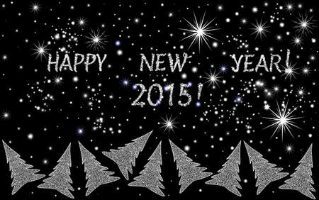 Beautiful vector festive background \Happy New Year 2015!\ with dancing Christmas trees Vector