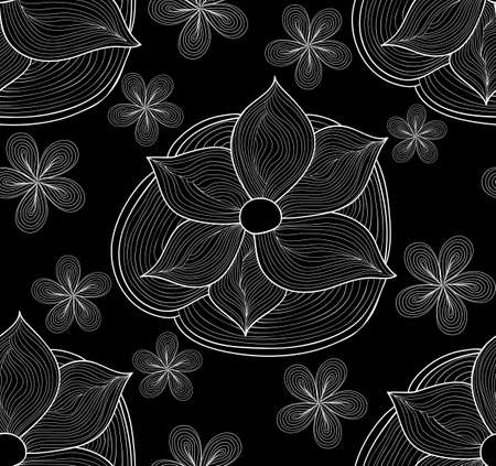 waterlily: Beautiful floral vector seamless pattern with ornamental waterlily and daisies