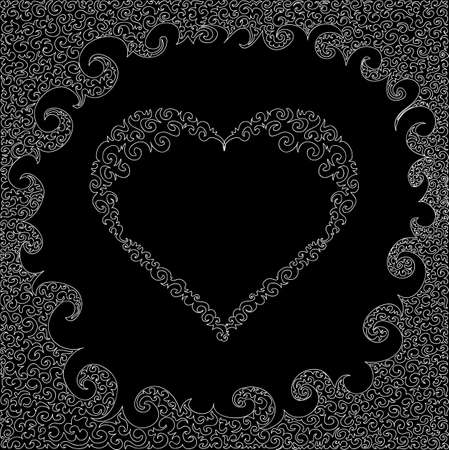 Valentines day vector background with figured ornamental heart Illustration
