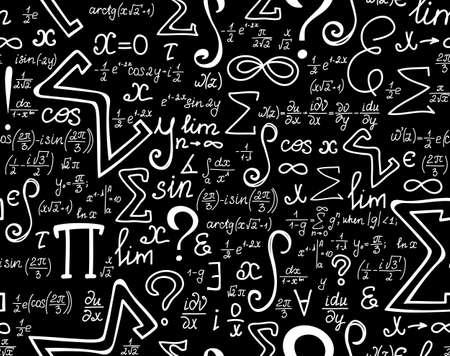Vecteur mathématiques texture transparente avec différents signes et des symboles mathématiques