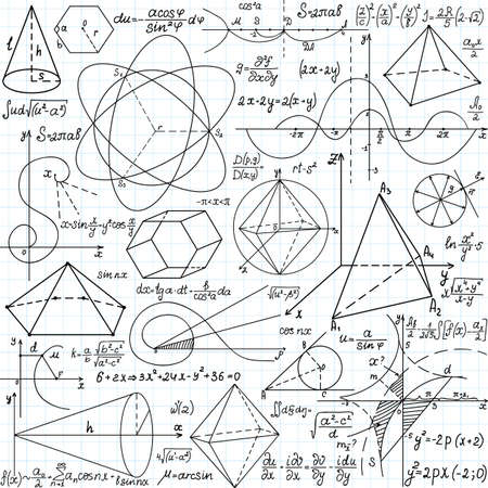 algebra: Beautiful vector seamless pattern with mathematical figures, calculations and plots, \\\\\\\\\\\\\\\handwritten on the copybook paper\\\\\\\\\\\\\\\
