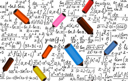 Vector seamless texture with school pencils drawing mathematical formulas