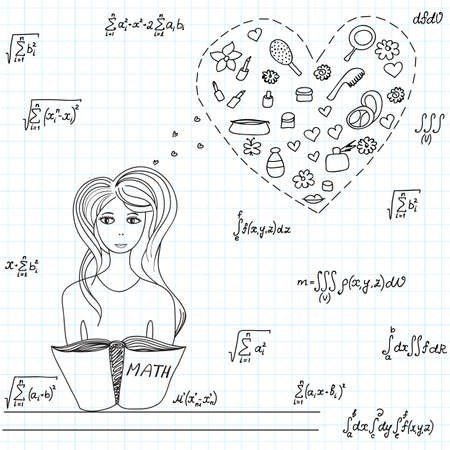 pretty young girl: Mathematical vector illustration with pretty young girl dreaming about fashion things at math lesson