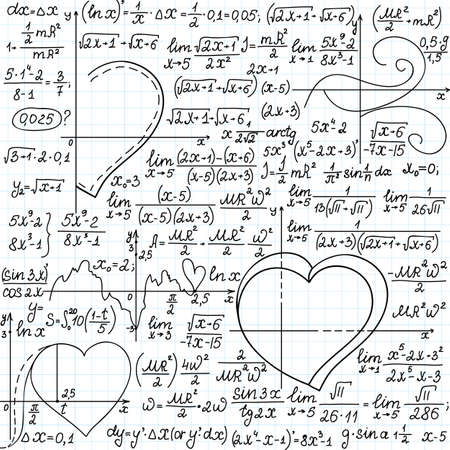 plots: Vector mathematical seamless pattern with formulas and plots of hearts, \\\\\\\\\\\\\\\handwritten on a copybook paper\\\\\\\\\\\\\\\