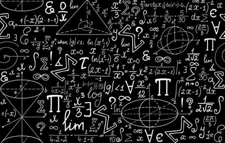 integral: Vector mathematical seamless texture with various mathematical signs, figures and calculations Illustration