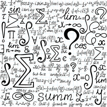 Beautiful vector seamless pattern with mathematical figures, formulas and symbols, \\\\\\\handwritten on the copybook paper\\\\\\\. You can use any color of background