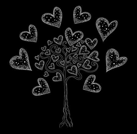 genealogical: Vector tree of love with hearts Illustration