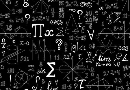 integral: Vector mathematical seamless texture with various mathematical signs, figures and handwritten numbers