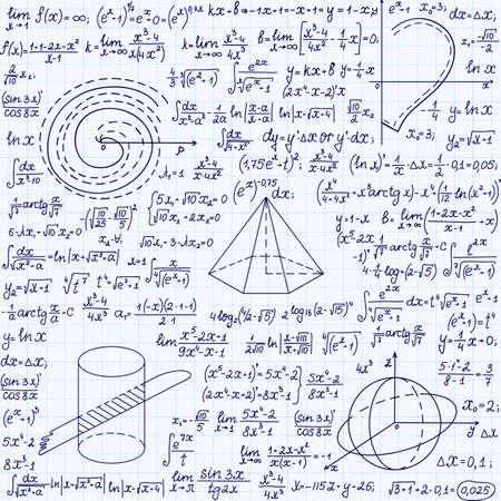 """cardioid: Matemática vector sin patrón con figuras geométricas, parcelas, fórmulas  """", escrita a mano en un cuaderno de cuadrícula de papel """""""