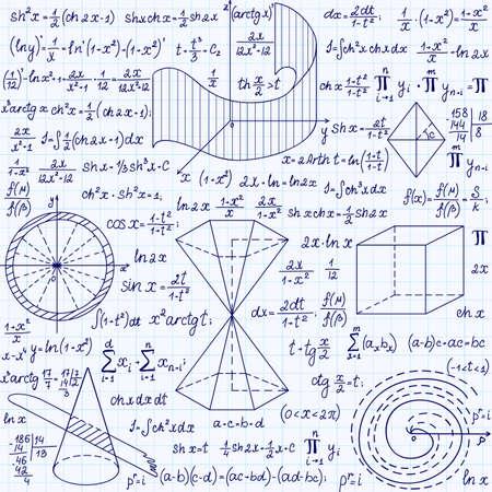 """cardioid: Matemática vector sin patrón con figuras geométricas, parcelas y fórmulas,  """"escrita a mano en un cuaderno de cuadrícula de papel """""""