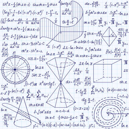 plots: Mathematical vector seamless pattern with geometrical figures, plots and formulas, \handwritten on a grid copybook paper\