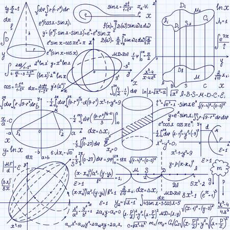 """cardioid: Matemática vector sin patrón, con cifras y fórmulas geométricas,  """"escrita a mano en un cuaderno de cuadrícula de papel """". Textura sin fin."""
