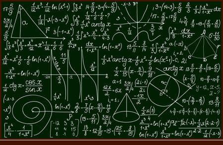 Pizarra de la escuela vector con cálculos matemáticos escritos a mano Foto de archivo - 37555875