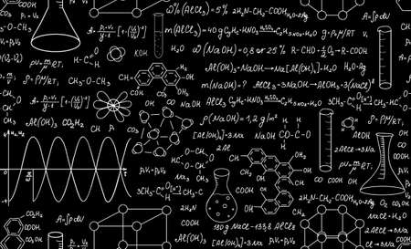 Beautiful educational chemistry vector seamless pattern with plots, formulas and laboratory equipment. Scientific background. Endless texture Vector