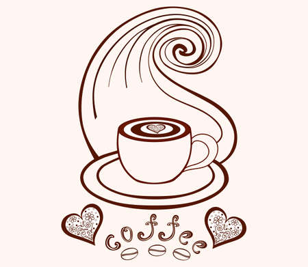 Vector coffee cup with coffee art, coffee beans, hearts and with lines pattern Vettoriali