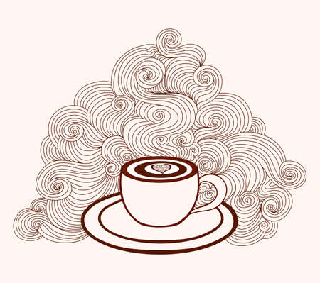 Abstract beautiful vector coffee cup with coffee art and with lines pattern