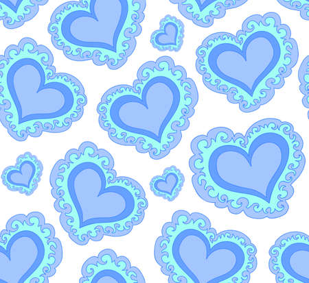 marriage bed: Vector seamless pattern with beautiful blue abstract hearts. Endless texture. You can use any color of background Illustration