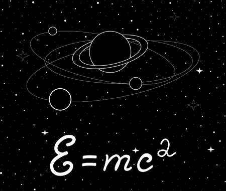 astrophysics: Vector space illustration with physical speed of light formula and planet with satellites