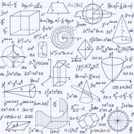 """cardioid: Matemática vector sin patrón con figuras geométricas, parcelas y ecuaciones """", escrita a mano en el papel de cuaderno de cuadrícula"""". Textura matemáticas Endless"""