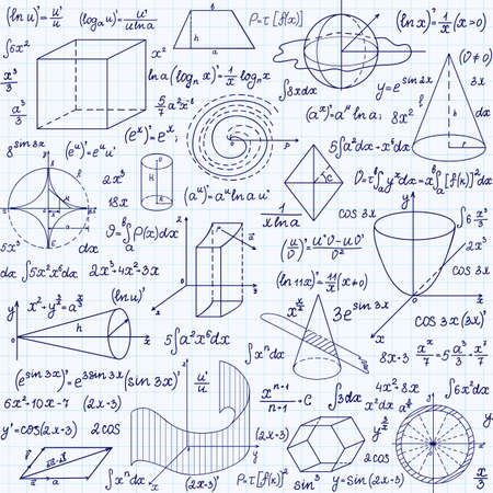 Mathematical vector seamless pattern with geometrical figures, plots and equations, handwritten on the grid copybook paper. Endless math texture Illustration