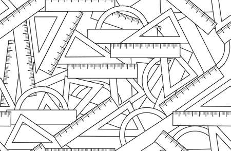 Graphic vector seamless pattern with school kit accessories: triangles, angle protractors and rulers. Endless texture