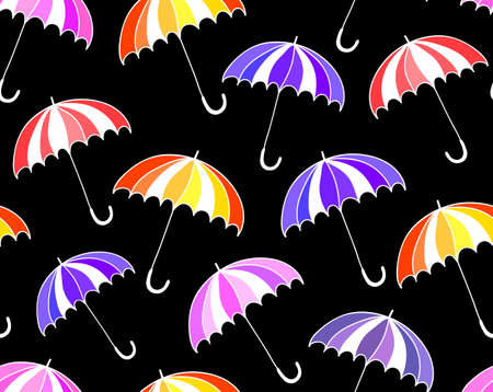 Beautiful vector seamless pattern with colorful umbrellas. Endless texture Vector