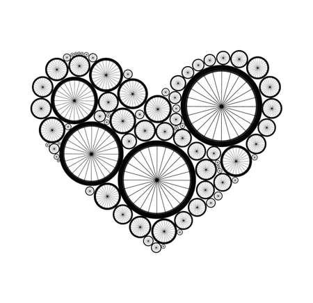 Vector heart made of bike wheels Illustration
