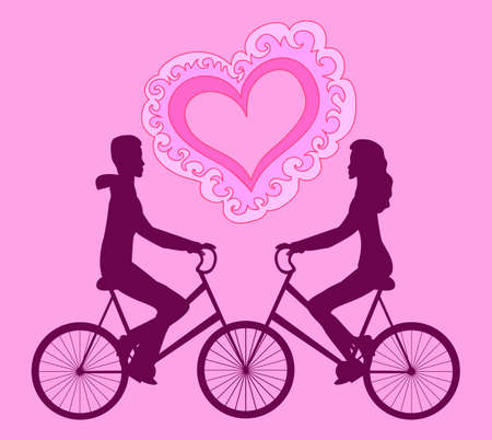 towards: Vector illustration with happy couple riding on bikes towards each other Illustration
