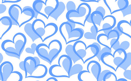 marriage bed: Abstract vector seamless pattern with decorative blue hearts