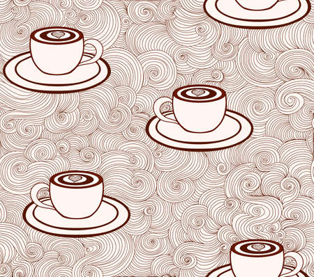 Vector endless texture with coffee cups and figured lines. You can use it for coffee shop or cafe design Vector