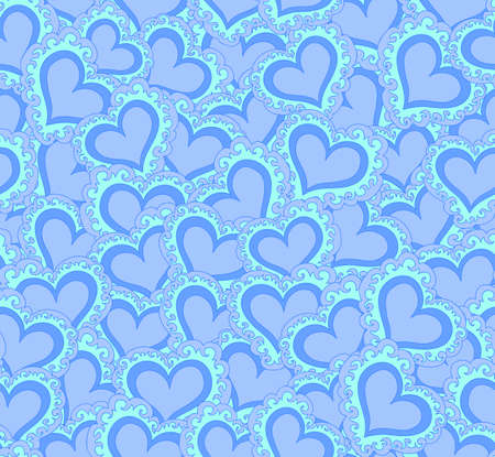 marriage bed: Vector seamless pattern with abstract blue hearts. Endless texture