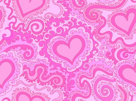 figured: Abstract colorful purple vector seamless pattern with figured hearts and lines. Endless vector texture Illustration