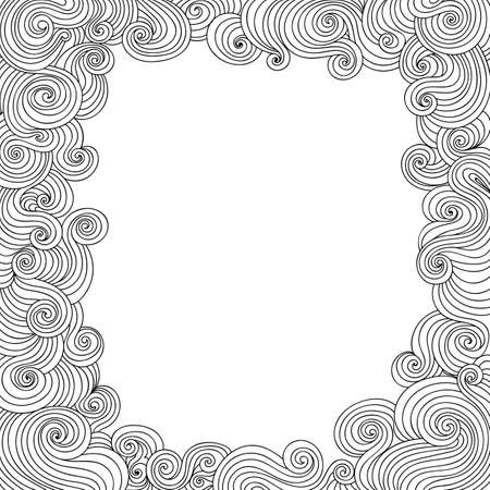 plaiting: Vector abstract black and white decorative frame with curling lines