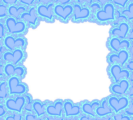 Vector decorative frame with blue ornamental figured hearts Illustration