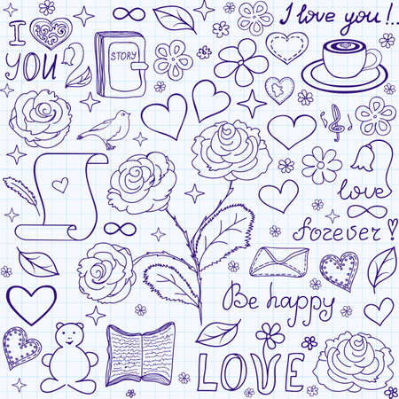 Beautiful vector seamless pattern with words of love, books and hearts, \\\handwritten on the copybook grid paper\\\