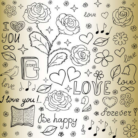 Abstract vector seamless pattern with the words of love, roses, books, flowers and hearts, \\\handwritten on the old paper\\\ Vector