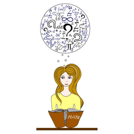 educational problem solving: Vector education illustration with a beautiful girl sitting at desk, solving mathematical problems and thinking about formulas, figures and calculations